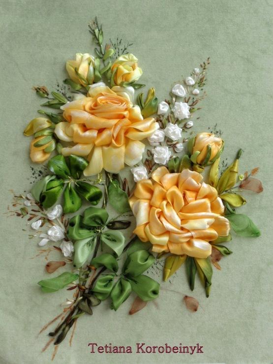 Вышивка лентами розы самые шикарные картины 290