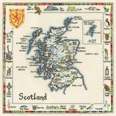 Вышитые картины, изделия из бисера и бусин, вязанные изделия, купить вышивку Heritage, Карта Шотландии, Heritage 557.