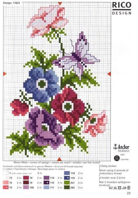 цветок схема крестом — цветок