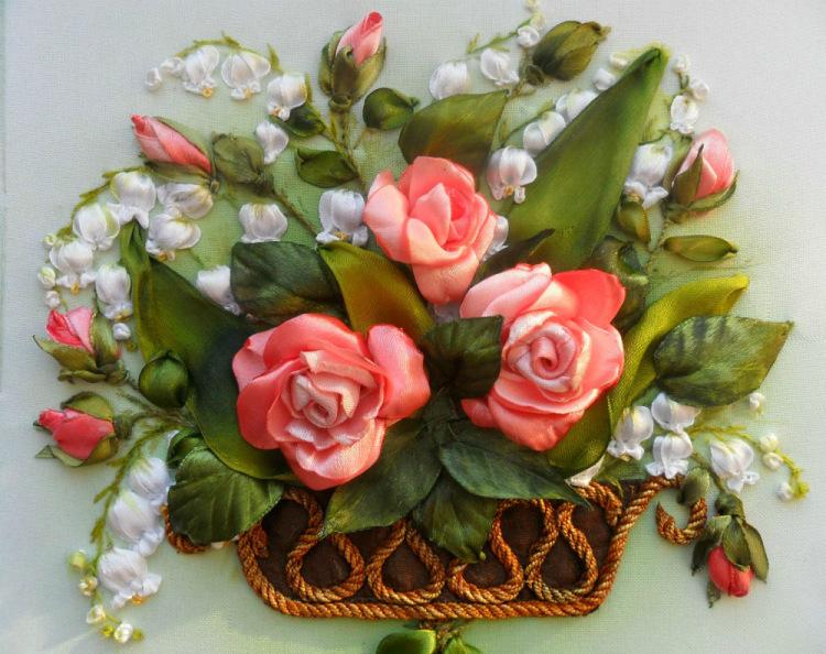 Вышивка лентами розы самые шикарные картины 30