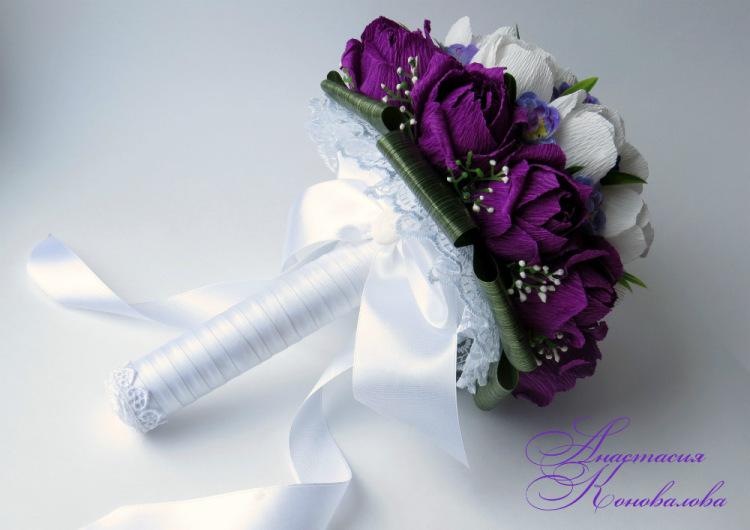 Букет из гофрированных цветов своими руками